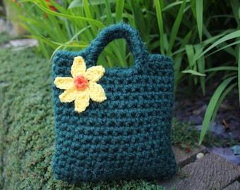 Little Girl Little daffodil Purse in hunter green
