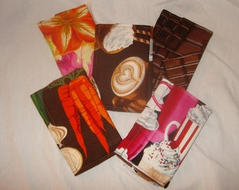 Mini wallet business card case fabric coffee chocolate flowers vegetables colorful handmade case