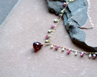 Natural Garnet Necklace, Dainty Pink Sapphires, Freshwater Seed Pearls, Delicate 14k Gold Chain