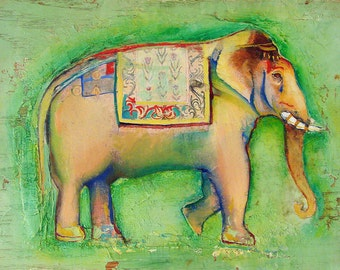 Original Animal Painting oil on oak board -Elephant626-8 x 10 inches
