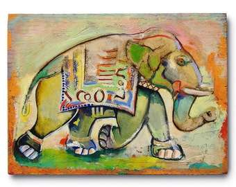 Animal Painting- oil painting on oak board -Elephant-Summer 8 x 10 inches