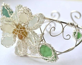 Sterling and Fine Silver  Knitted Wire Work Genuine Sea Glass Cuff Bracelet with Daisy Flower swirls