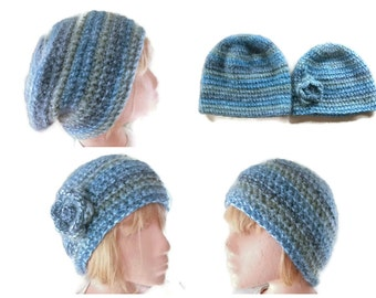 PDF PATTERN/TUTORIAL for Crocheted Slouchy & Beanie Hat. Instant Download, Men, Women, Accessories, Winter warmers. Tutorial with Pictures.