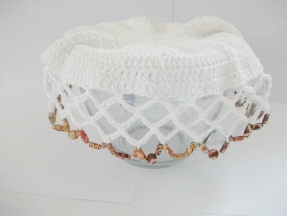 Crochet Beaded Jug/Bowl Cover in White Cotton. Picnics, Dining, Outdoor Living, Alfresco, Spring, Summer