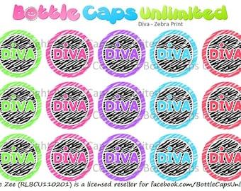 "15 Diva Zebra Print Download for 1"" Bottle Caps (4x6)"