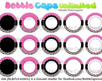 "15 Editable Pink Leopard Download for 1"" Bottle Caps (4x6)"