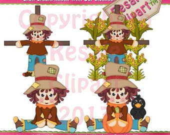 Fall Scarecrows 4 Clipart (Digital Download)