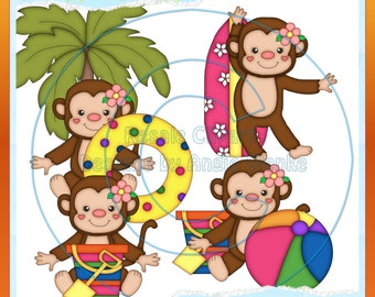 Summer Girl Monkeys Clipart  (Digital Download)
