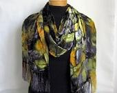 Reserved for Kara Silk Cut Velvet Leaf Pattern Scarf /Shawl