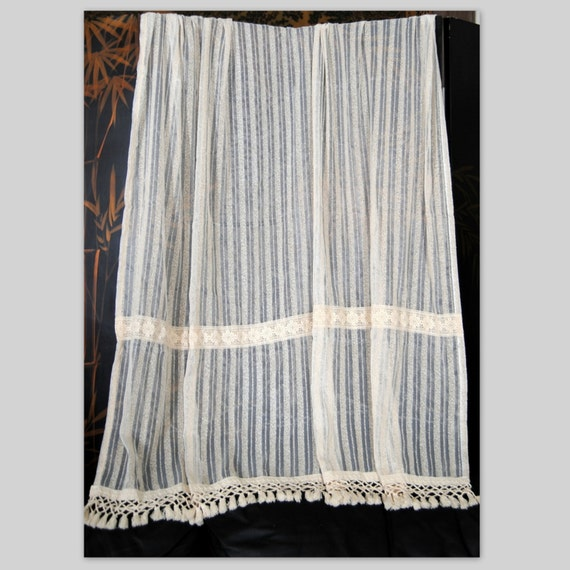 Vtg 59w X 62h Linen Curtain Lace Drapes Shabby