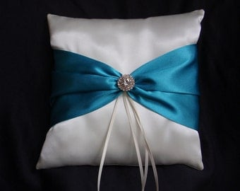 Ivory Turquoise Square Satin Ring Bearer Pillow Bow Rhinestones Wedding Bridal