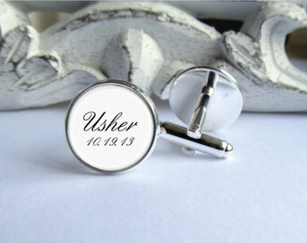 Wedding Cufflinks, Usher Cufflinks, Personalized Cufflinks With Date