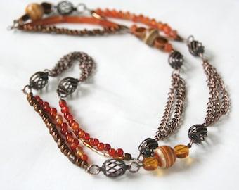 Beaded Necklace in Copper Burnt Orange, FREE Bracelet included