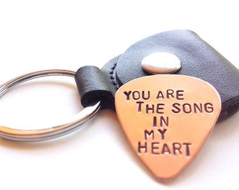 unique mens gift, copper guitar pick keychain -  mens key chain - romantic gift - heart love - boyfriend, husband