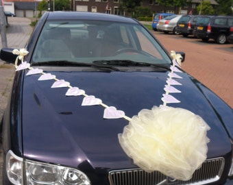 Heart Banner & Organza Bow Wedding Car Decoration