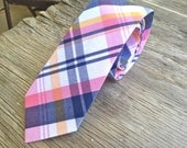 Pink and Navy Tie -- Pink and Navy Plaid Tie -- Groomsmen Ties -- Neck tie for Men -- Matching Father and Son Tie Set -- Pink Tie for Men