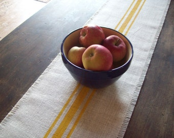 Classic Farmhouse Table Runner 10 x 48 - 12 x 48 - 14 x 48, Hand Painted Stripes, Burlap Runner, Yellow Kitchen Decor, Grain Sack Style