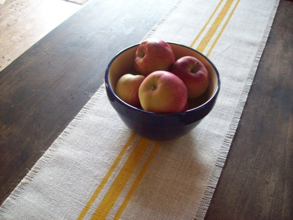 Grain Sack Burlap Table Runner 10 x 48 - 12 x 48 - 14 x 48 - with Hand Painted Yellow Stripes - Other Colors Available - Farmhouse Runner