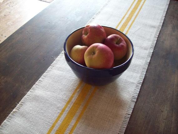 Classic Farmhouse Table Runner 10 x 48 - 12 x 48 - 14 x 48, Hand Painted Stripes, Burlap Runner, Yellow Kitchen Decor, Grain Sack Style