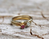 Vintage Gold Stacking Rings- Pink and Clear Gemstones