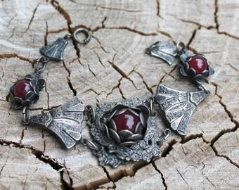 Antique Silver and Garnet Flower Bracelet
