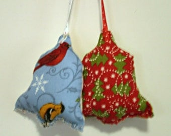 Plush Holiday Ornaments/Fabric Bell Ornaments/Christmas Tree Ornaments/Tree Decoration/Christmas Bells