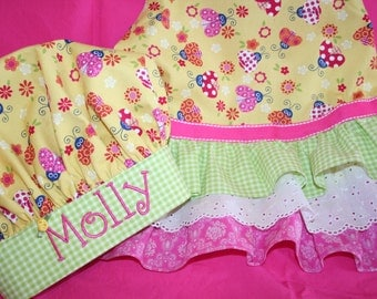 Ladybugs Apron and Chef Hat with Personalized Embroidery - Ladybugs and Ruffles - Girls Full Apron All Sizes