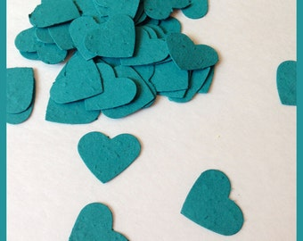 Teal Heart Seed Paper - 100 Seed Paper Hearts - Seed Paper Confetti