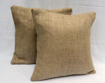 "Set of 2 22"" x 22"" Burlap Pillow Covers"