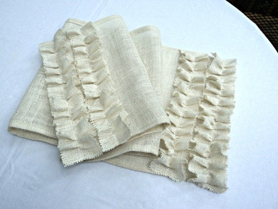 Burlap Table Runner with Ruffles  Custom Size Available