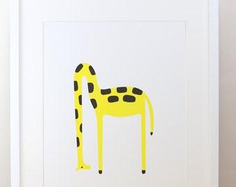 Risograph Giraffe Print by Timothy Hunt