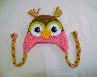 Medium Brown and Medium Pink Crochet Owl Hat - Winter Hat or Photo Prop - Available in Any Size or Color Combination