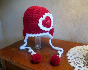 Valentine's Day Crochet Heart Earflap Hat - Photo Prop - Available in Any Size or Color Combination