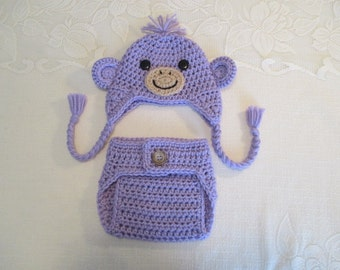 Light Purple Baby Monkey Crochet Hat and Diaper Cover - Photo Prop - Available in Newborn to 24 Months Size - Any Color Combination