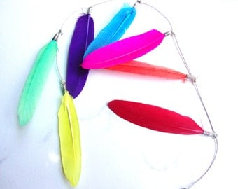 Super long rainbow parrot feather extension MADE TO ORDER