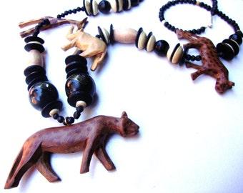 HUGE Vintage hand carved African animals necklace unisex