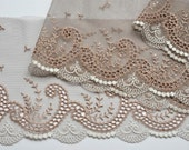 Taupe and White Embroidered Lace Trim, Scrolls, Swirls, Classic Embroidered Lace, Tuape fabric