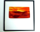 Abstract Fused Glass Wall Art Framed Three Dimensional Sunrise Sunset Sculpture Artist Signed