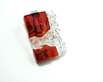Art Glass Jewelry Finely Hand Sculptured Dimensional Ruby Red Pendant Necklace Artist Signed