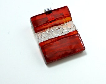 Art Glass Jewelry Wearable Statement Red Dimensional Hand Sculptured Pendant Necklace Artist Signed