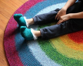 Happy Rainbow Rug, MADE TO ORDER, sizes between 50'' and 65'' available