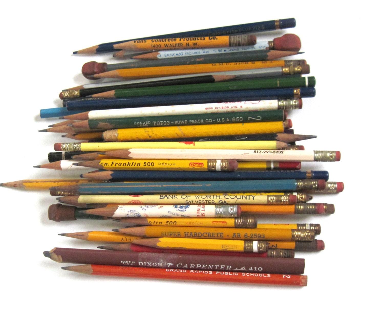 wood pencils vintage school supplies lot office used amp unused