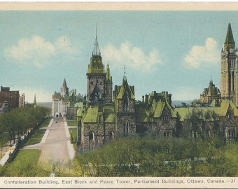 Confederation Building - East Block and Peace Tower - Parliment Buildings - Ottawa, Canada - 1945 Vintage Postcard