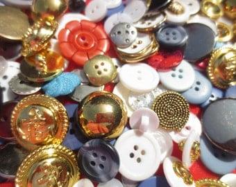 Nautical Button Mix 130 Piece Patriotic Red White Blue Gold Assortment