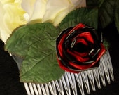 Black and Red Duck Tape Rose Hair Comb with Black Ribbon