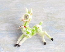 Vintage Green Deer Brooch