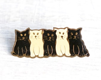 Row of Kittens brooch - Black and White Cats