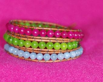 Quartz Leather Wrap Bracelet - Pink and Green Bracelet - Pink Bracelet - Quartz Wrap Bracelet (B315)