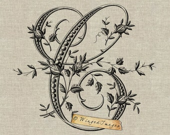 Antique French Monogram Letter C Instant Download Digital Image No.218 Iron-On Transfer to Fabric (burlap, linen) Paper Prints (cards, tags)