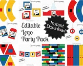 Editable Blocks Party Pack and Invite - Instant Download, Printable Templates - Fill in Text and Print at home - Lego Inspired Party .. lp01